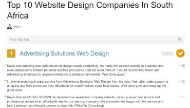 Advertising Solutions Web Design - Award 1