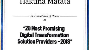 hakuna matata solutions pvt ltd - Award 1