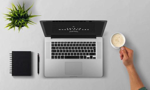 Designer Online Portfolio Website Laptop Notebook Coffee