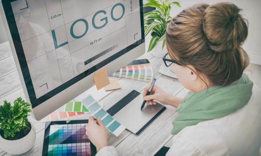 Responsive Logo Design Woman Working Computer