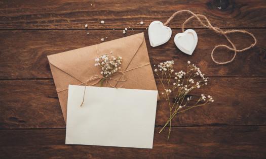 Wedding Invitation Design Rustic Baby's Breath Hearts
