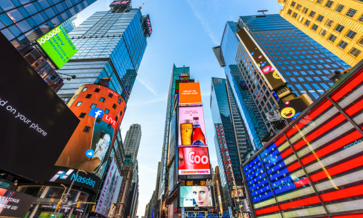 Best Billboards Times Square New York City American Flag