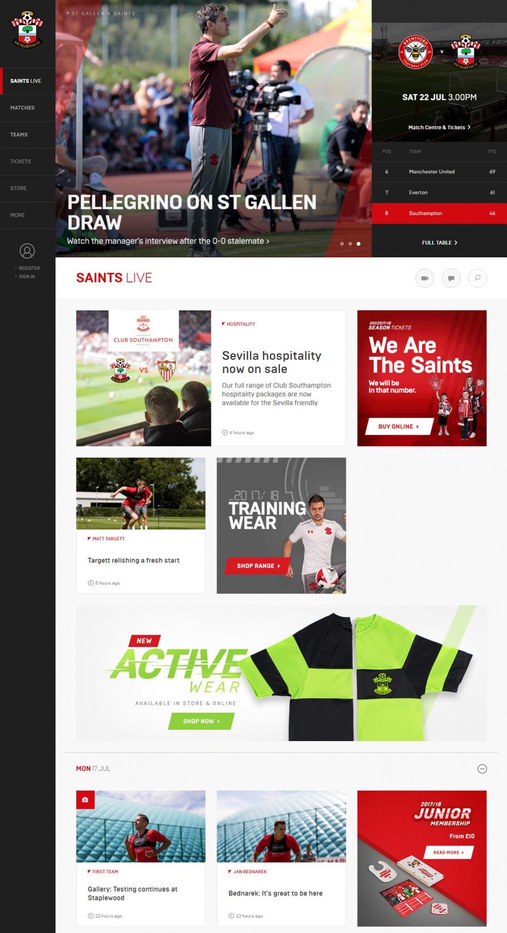 Southampton FC Amazing Homepage