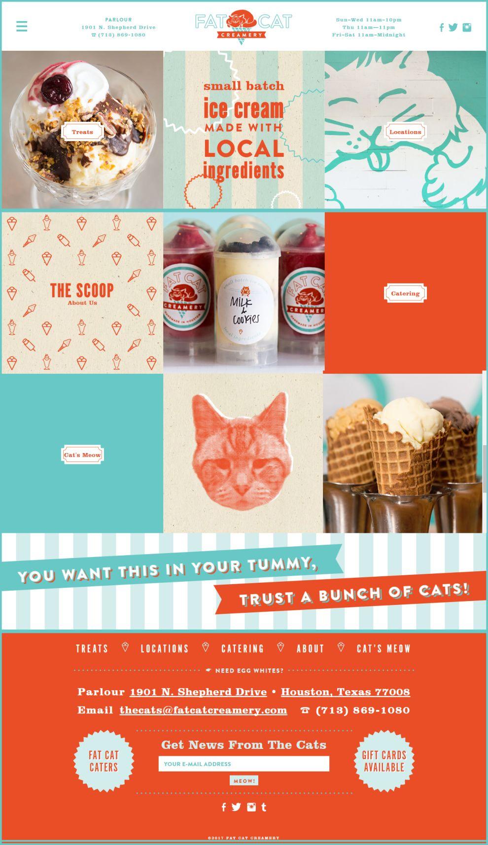 Fat Cat Creamery Retro Homepage