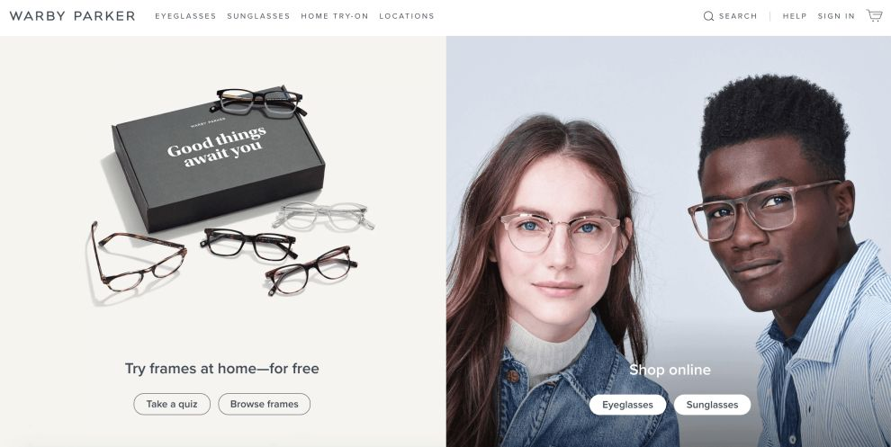 Warby Parker Homepage