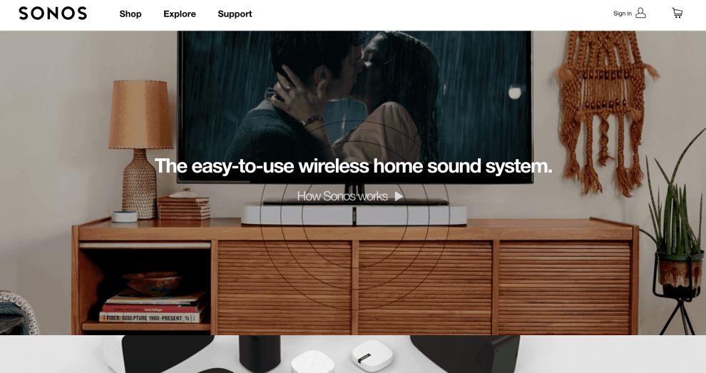 Sonos Website Design Homepage