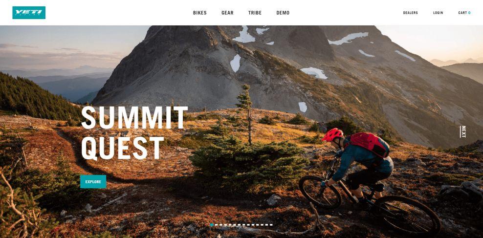 Yeti Cycles Homepage Web Design