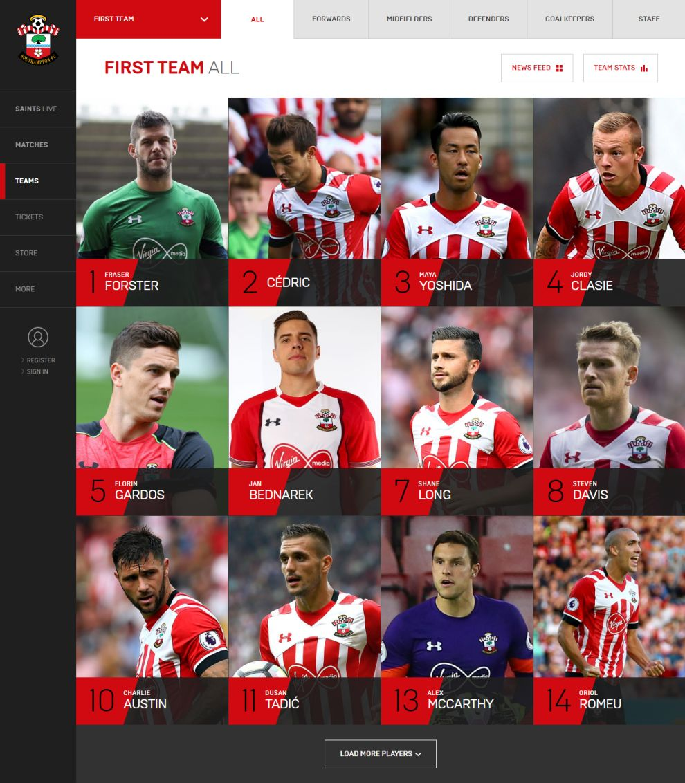 Southampton FC Amazing Website Design