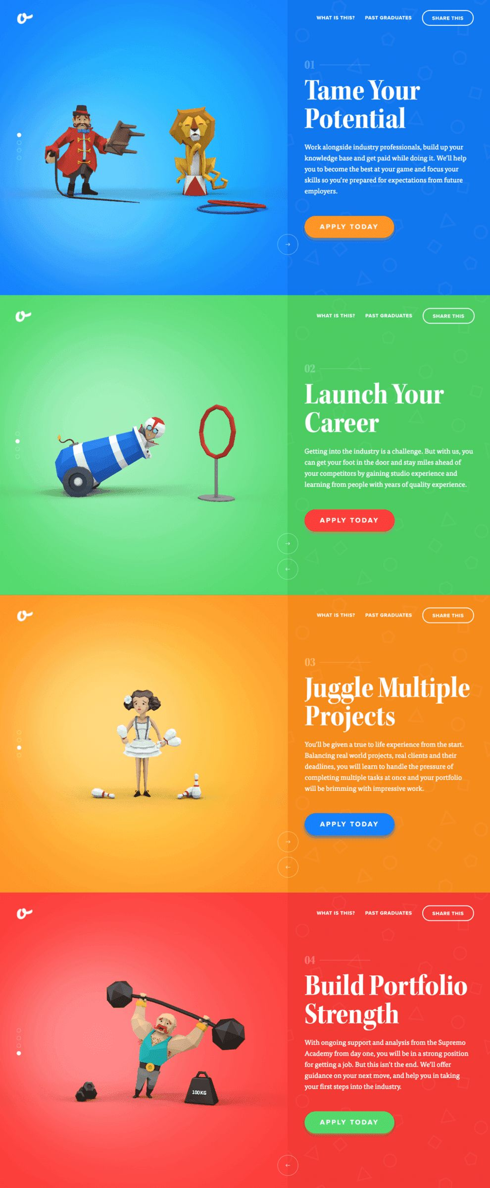 Supremo Academy's Illustrative Landing Page Creates An Intriguing User Experience (slide 2)