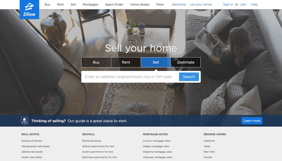 Zillow User-Friendly Web Design