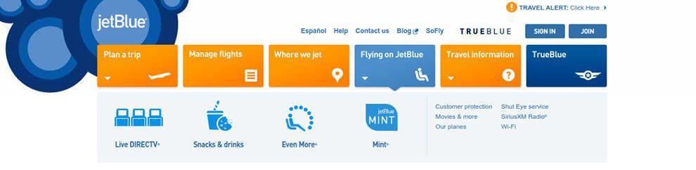 JetBlue Website Menu Icons