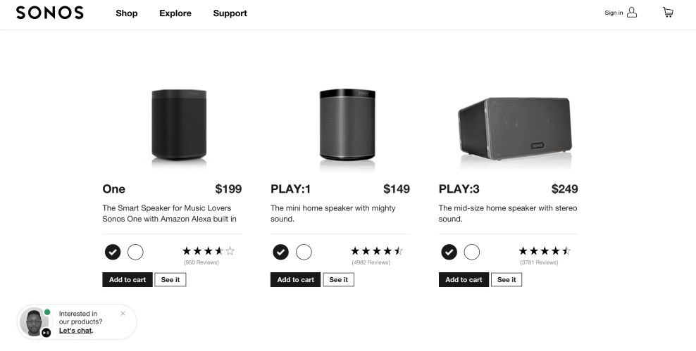 Sonos Website Product Page