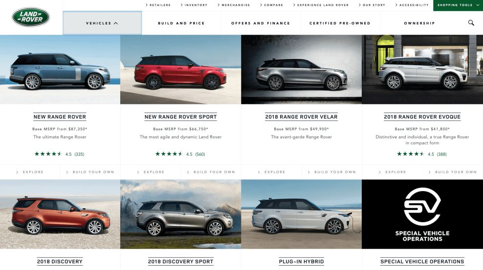 Land Rover Website Design Product Page