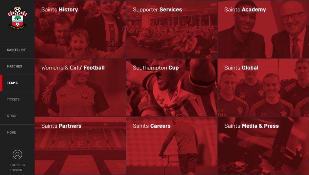 Southampton FC Amazing Menu Design