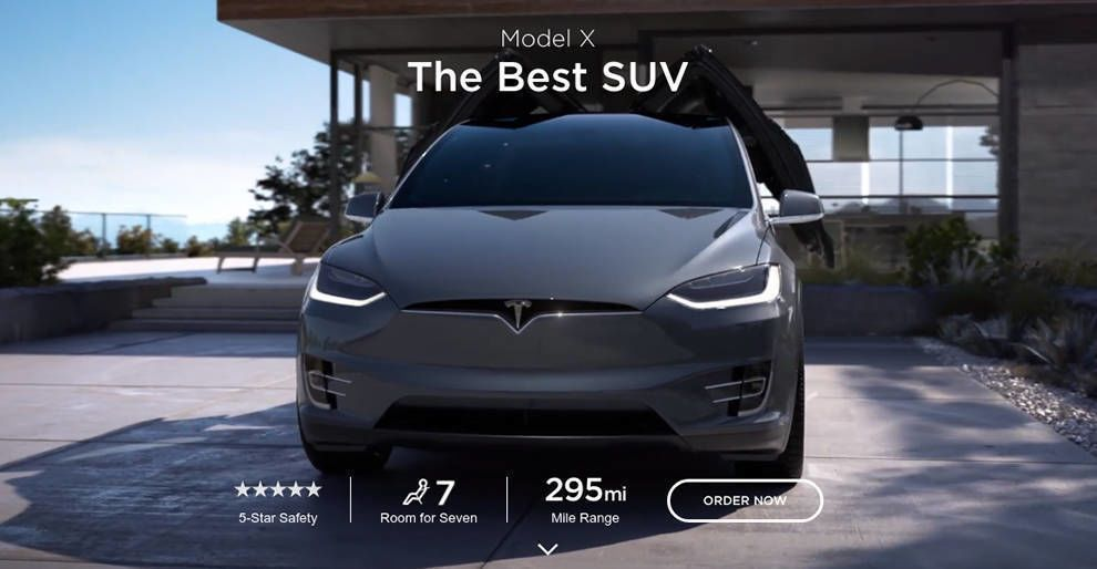 Tesla Website Product Page