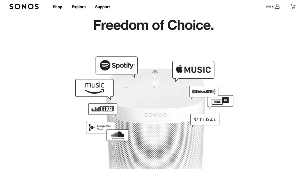 Sonos Homepage Music Streaming