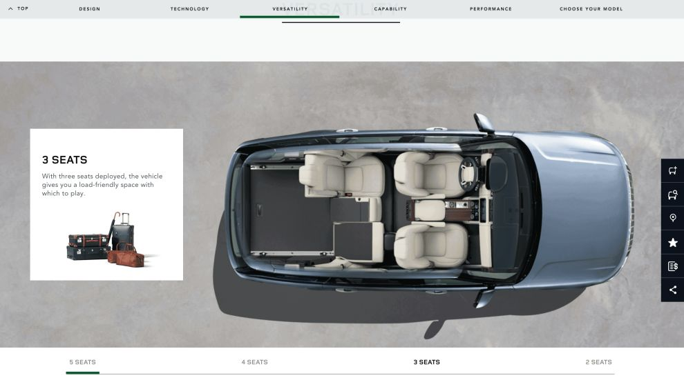 Land Rover Product Features Page Website Design
