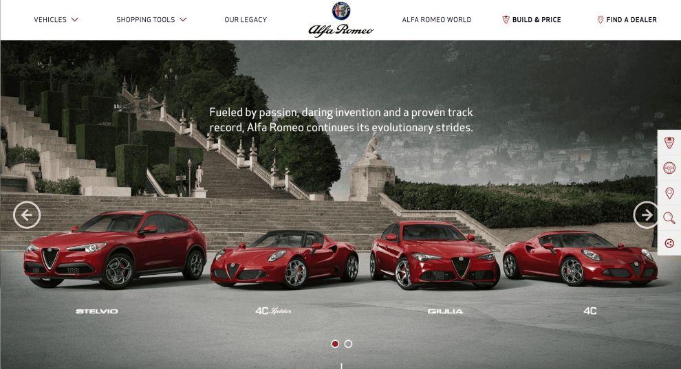 Alfa Romeo Home Page Website Design
