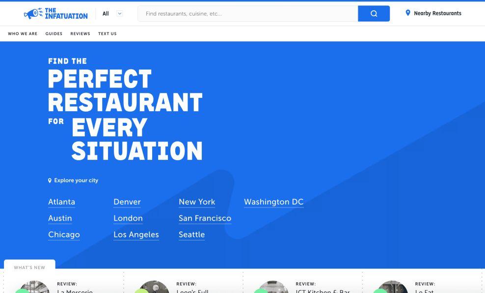 The Infatuation Web Design App Design