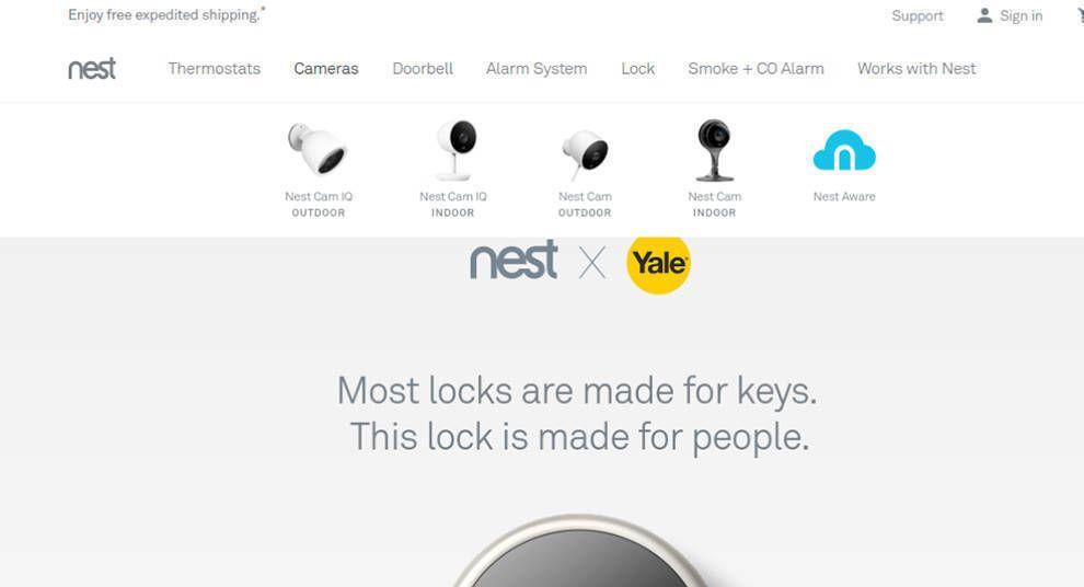 Nest Website Design Menu