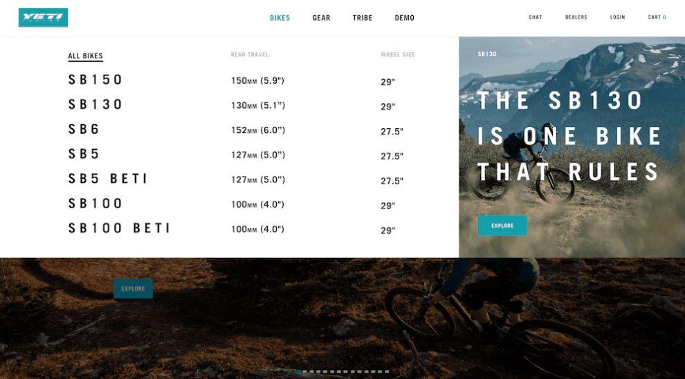 Yeti Cycles Great Web Design