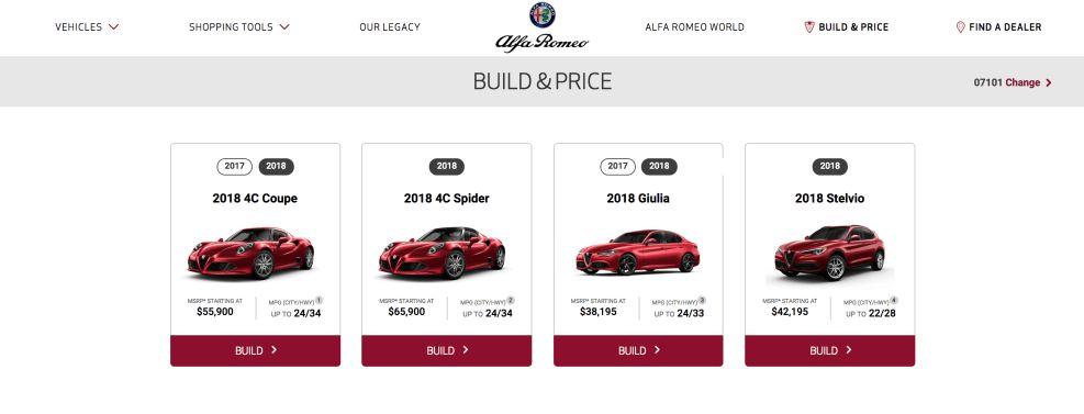 Alfa Romeo Clean Website Design