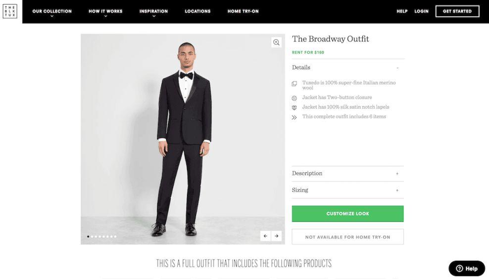 The Black Tux Elegant Product Page