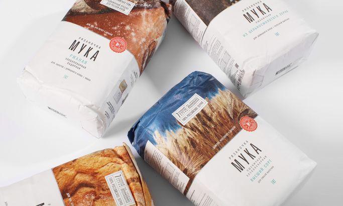 "Flour ""Ryazanochka"" Clean Package Design"