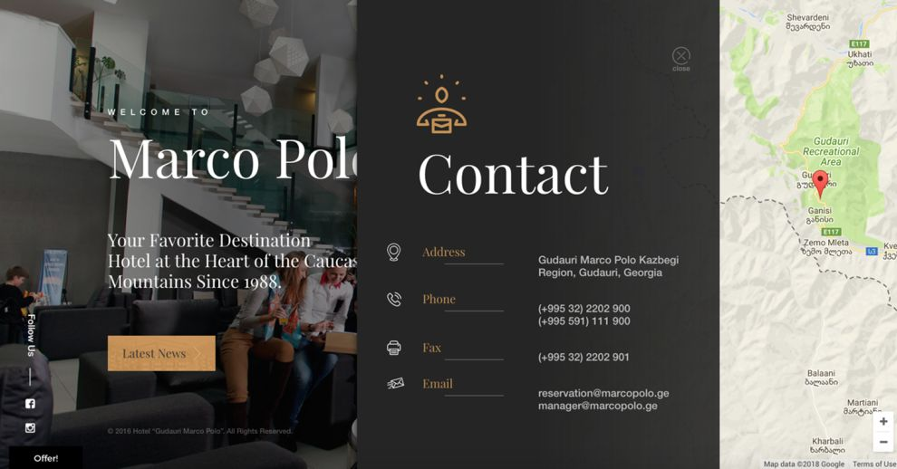 Marco Polo Hotel Beautiful Contact Page