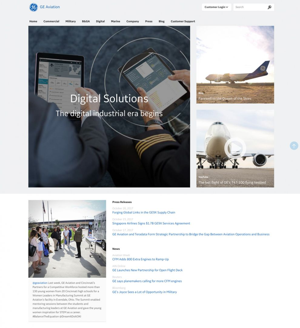 GE Corporate Website Design