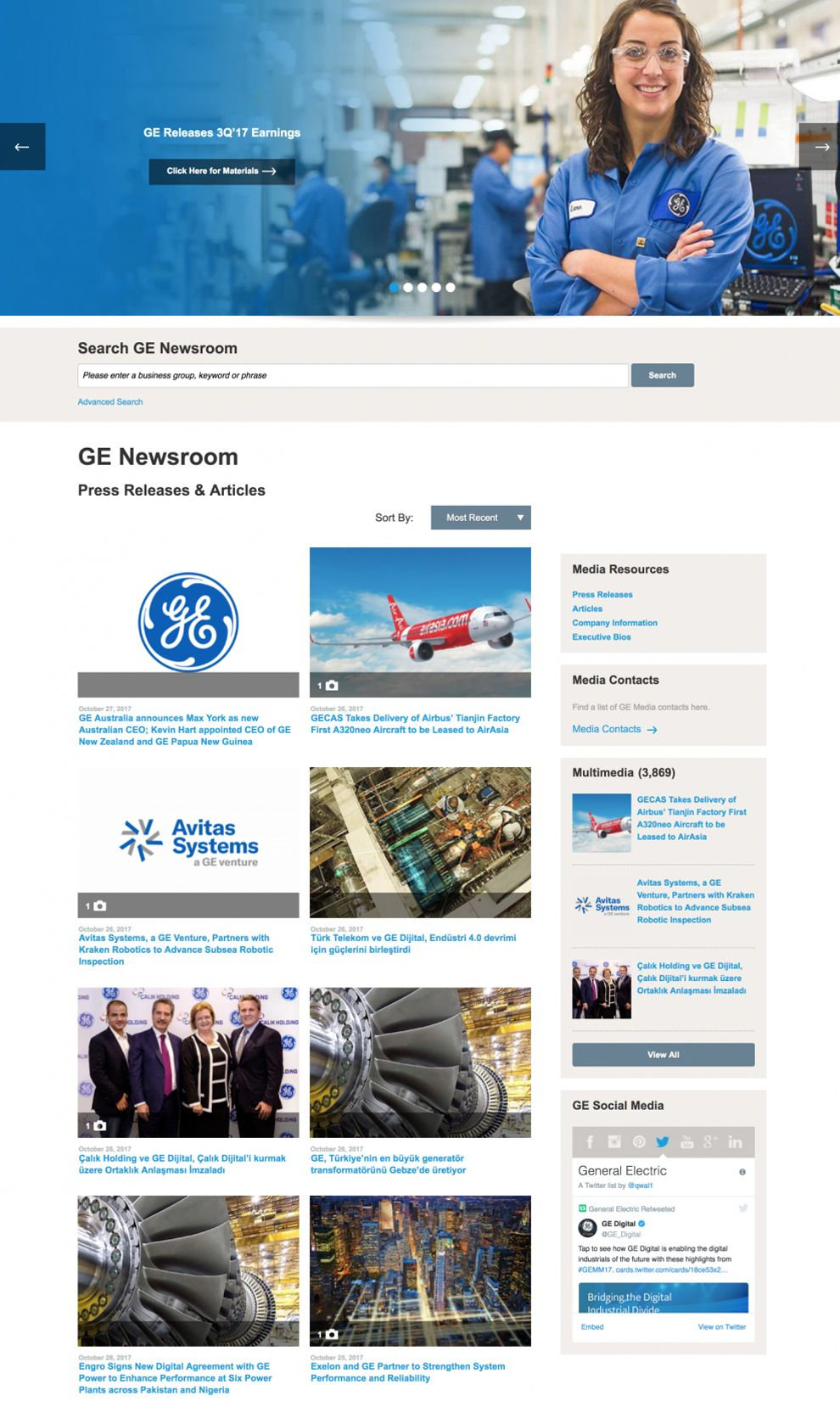 GE Corporate Press Page