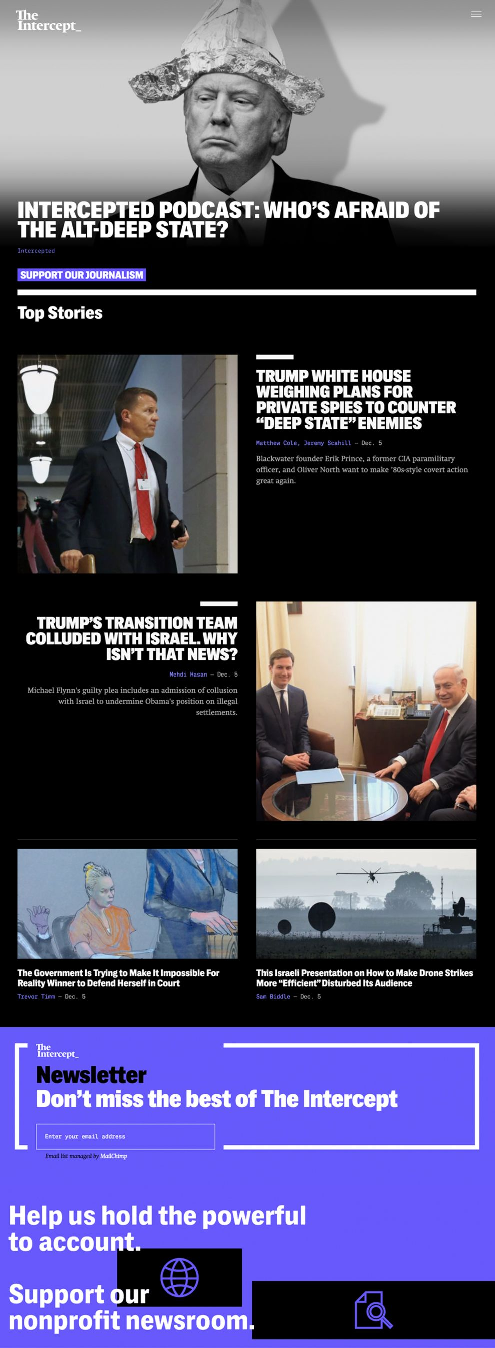 The Intercept Minimal Homepage