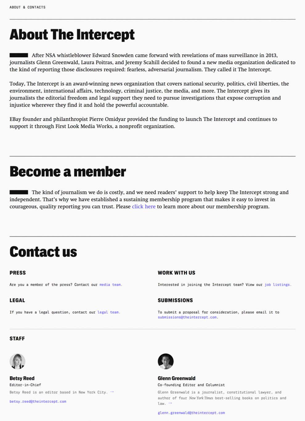 The Intercept Minimal About Page