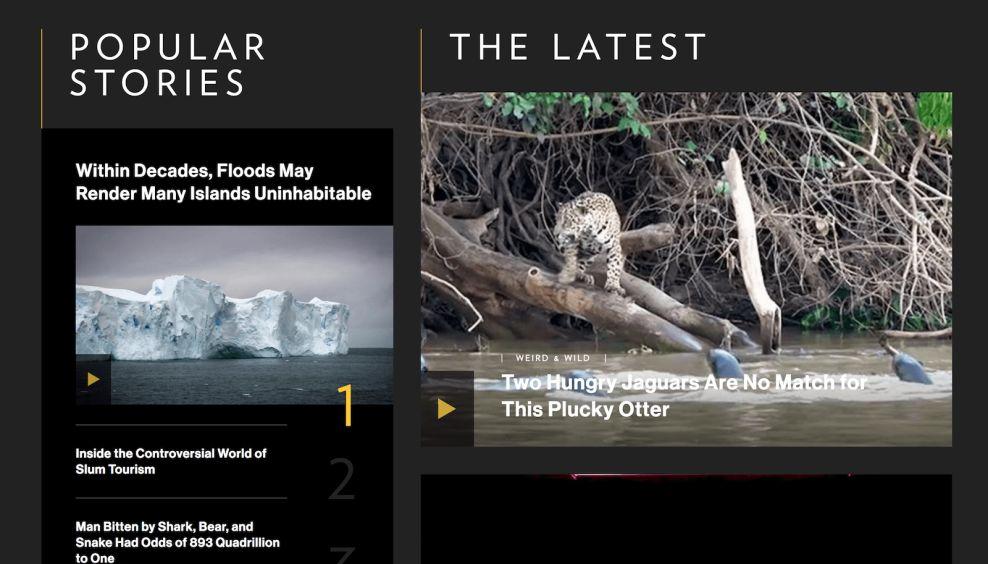 Nat Geo Popular Stories Website Design