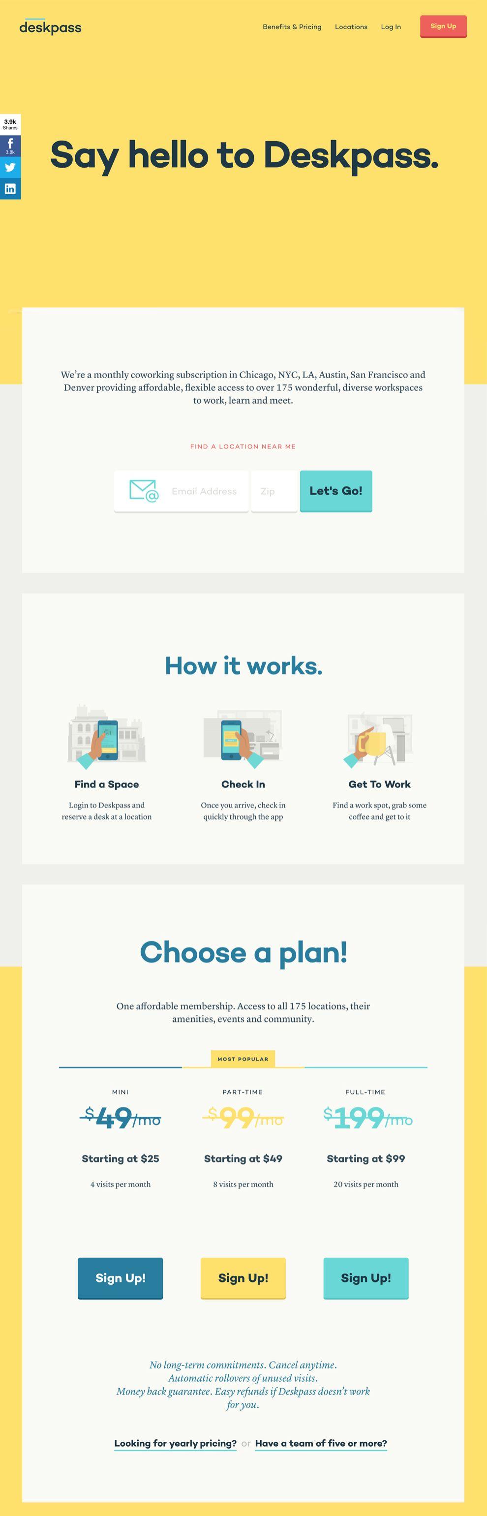 Deskpass Colorful Homepage
