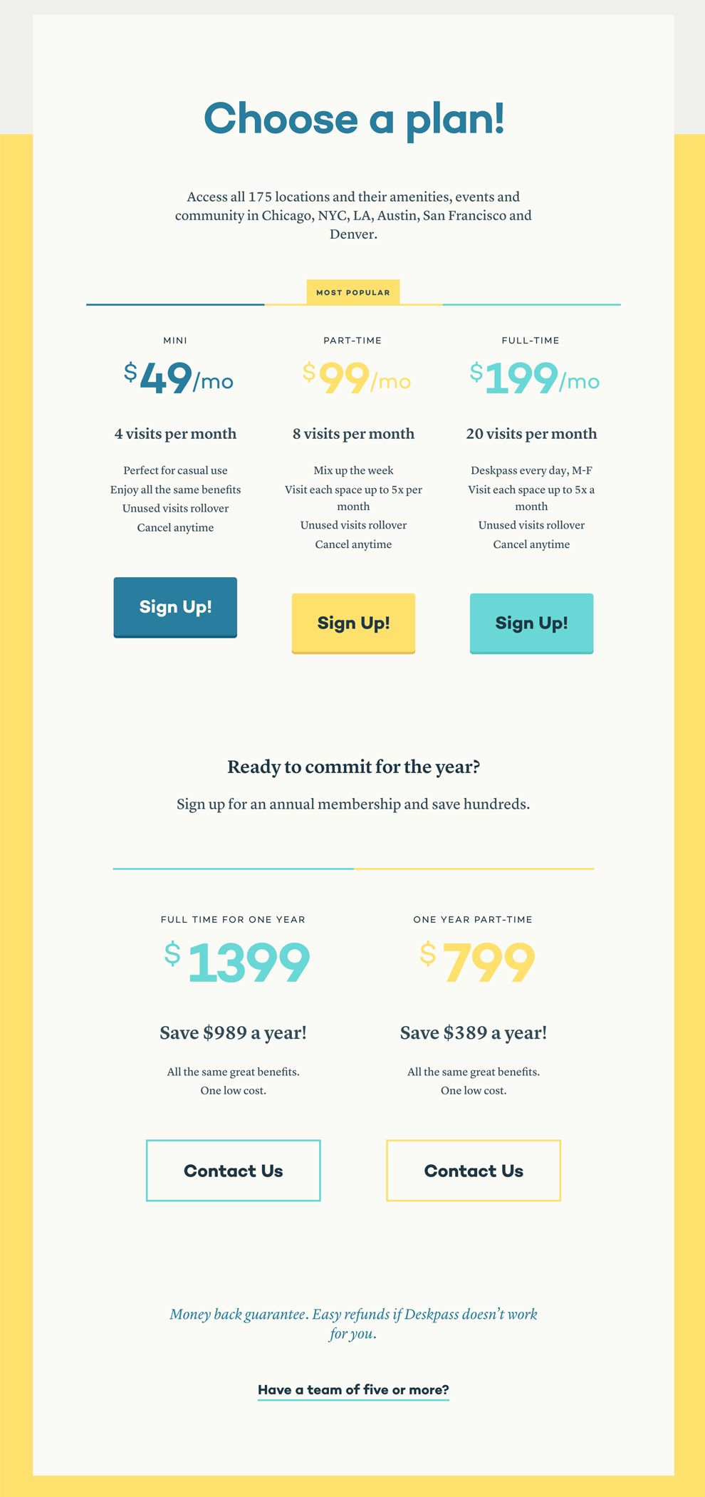 Deskpass Colorful Pricing Page