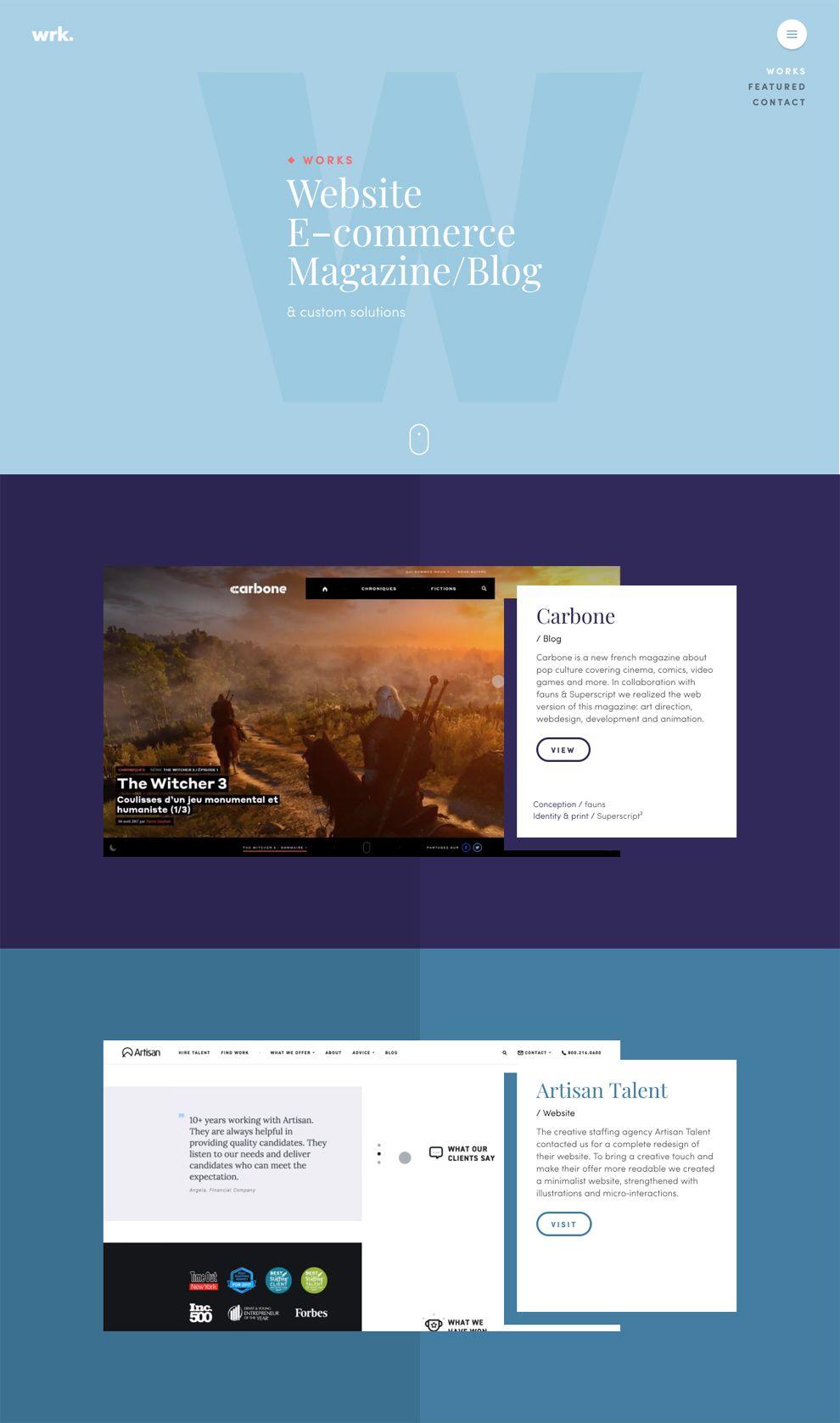 WRK Colorful Website Design