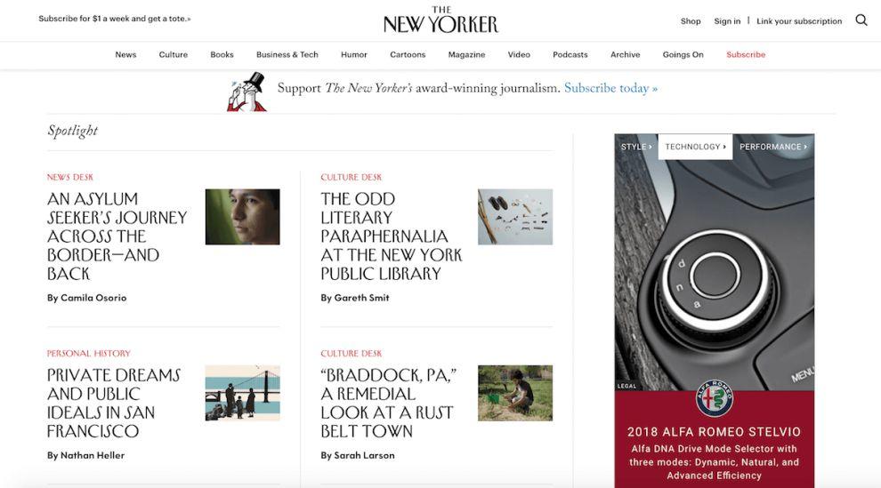 New Yorker Clean Website Design