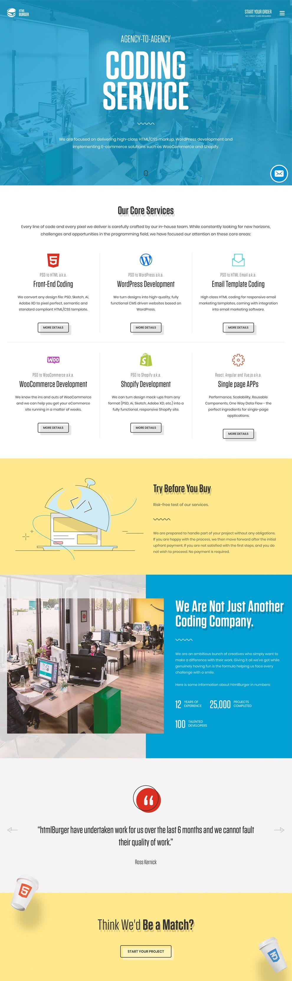 HTMLBurger Colorful Homepage