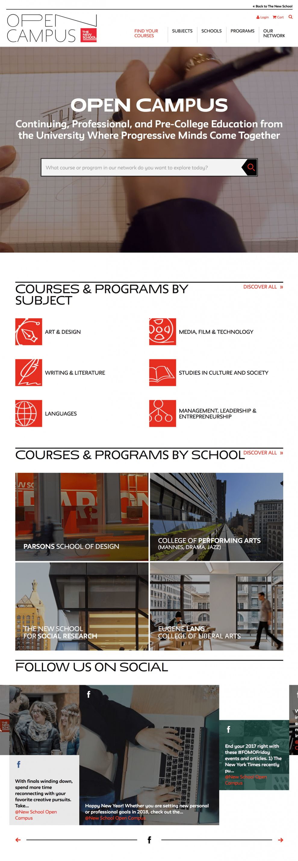 Open Campus at The New School Great Homepage
