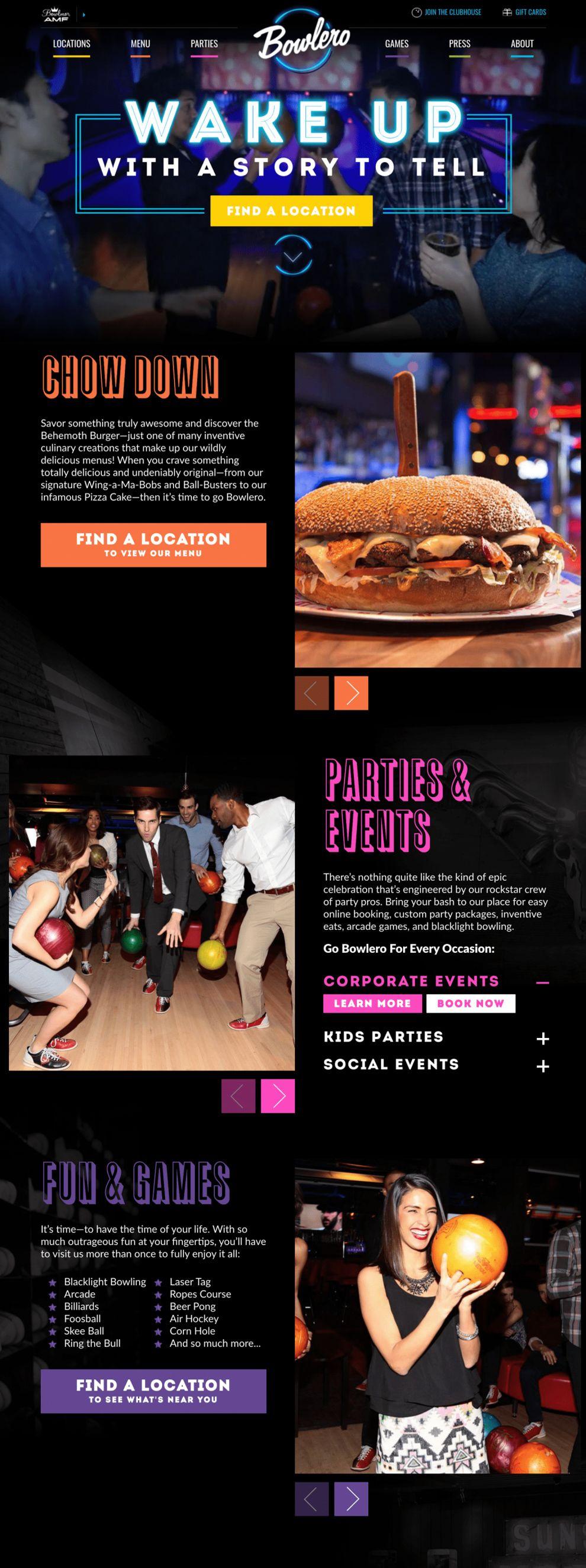 Bowlero Colorful Homepage