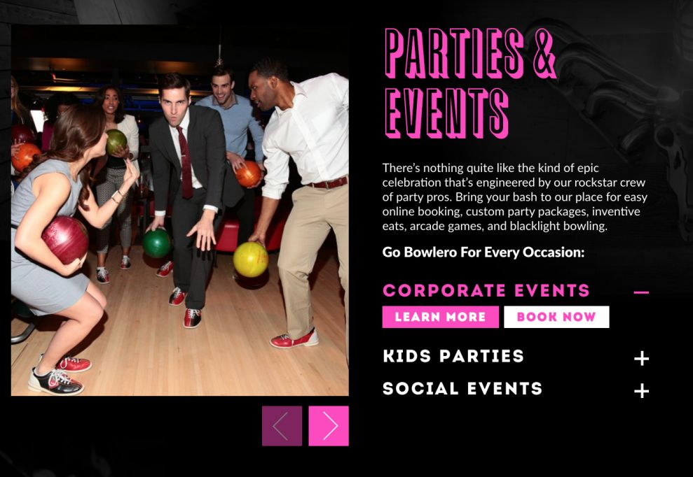 Bowlero Colorful Events Page