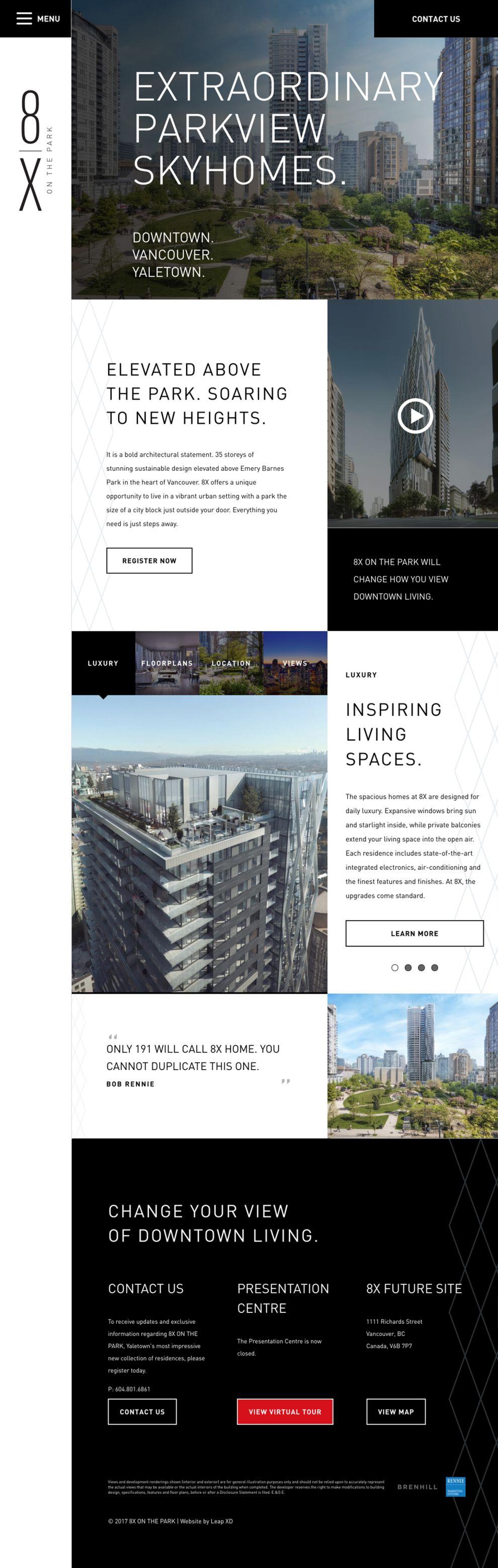 8X on the Park Elegant Homepage