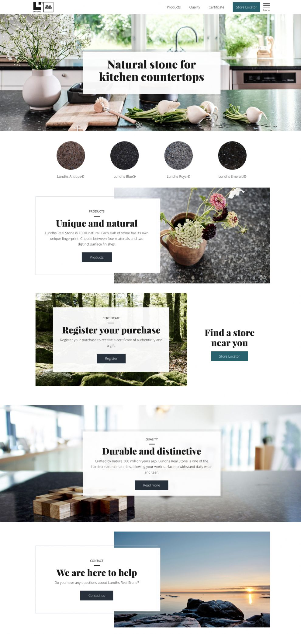 Lundhs Real Stone Elegant Homepage