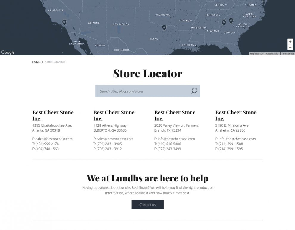 Lundhs Real Stone Elegant Contact Page