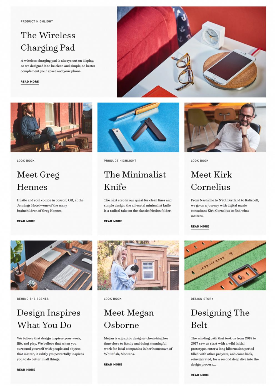 Grovemade Clean Website Design
