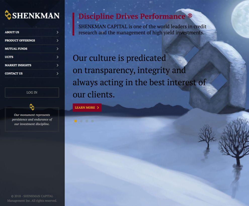 Shenkman Capital Professional Menu Design