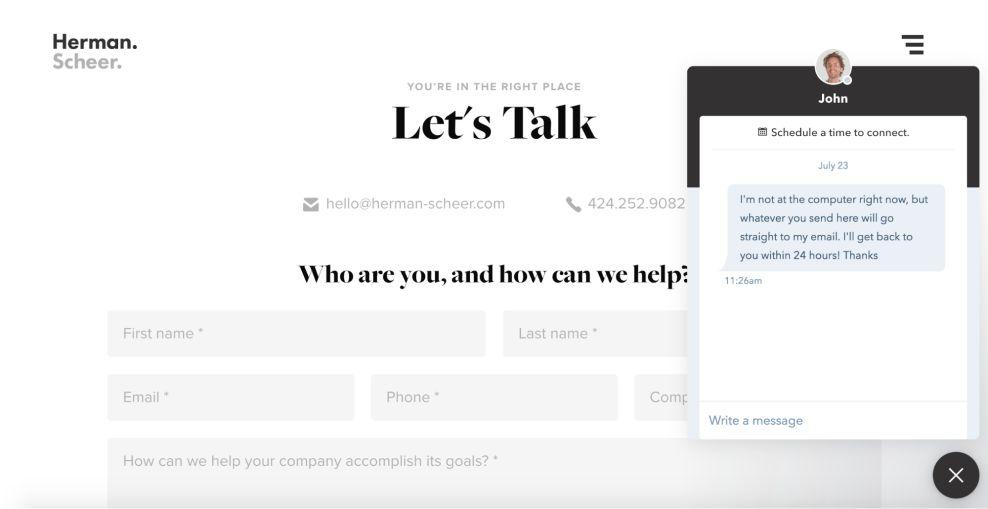 Herman & Scheer Clean Contact Page