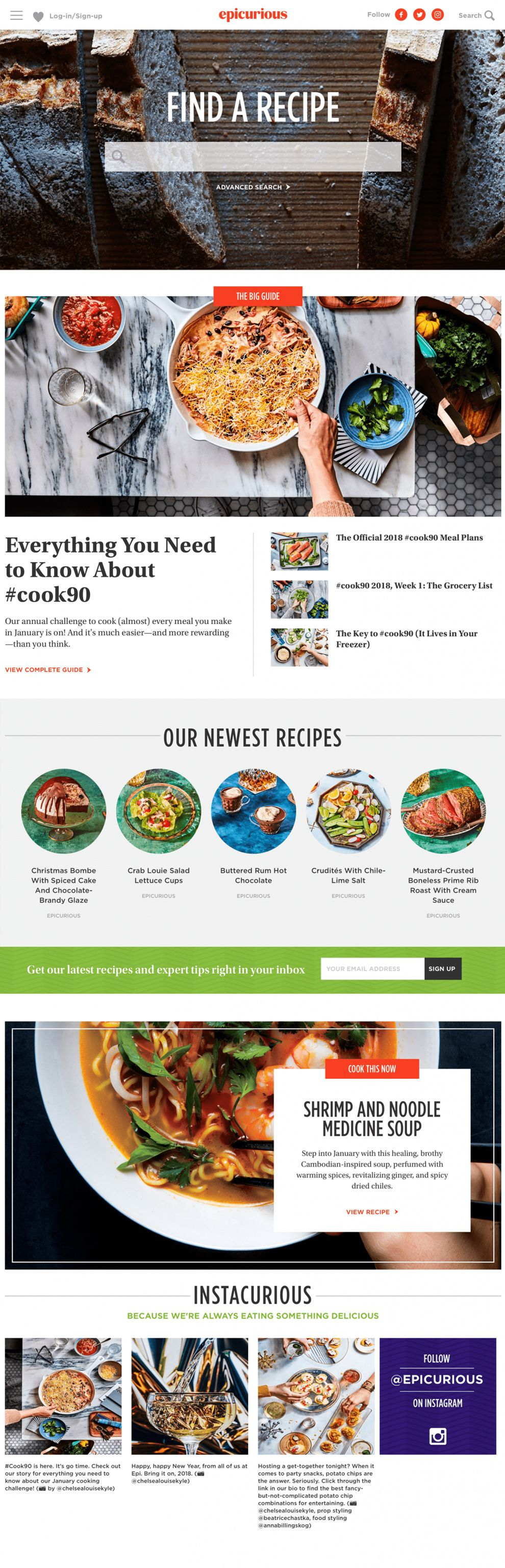Epicurious Great Homepage