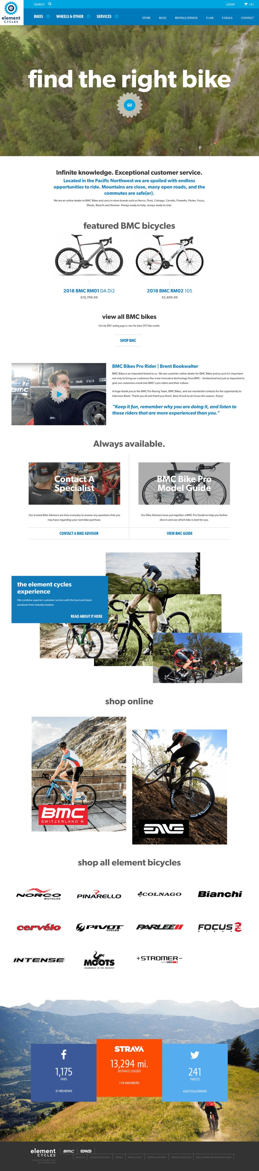 Element Cycles Clean Homepage
